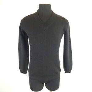 Prada Black V Neck Knitted Heavy Long Sleeve Sweater Size 48