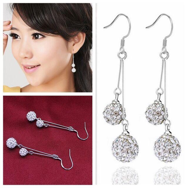 Hot Silver Plated 2 Elegent Crystal Ball long Drop/Dangle Hook Earrings