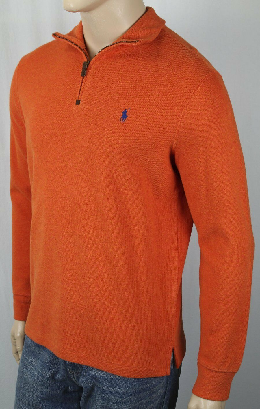 Polo Ralph Lauren orange 1 2 Half Zip Sweater bluee Pony NWT