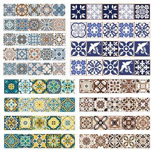 European Retro Flower Pattern Self-adhesive Tiles Wall Stickers Decal Decor