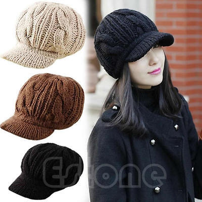 New Fashion Women Korean Winter Warm Crochet Knit Ski Beanie Wool Peaked Hat Cap