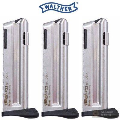 Walther P22Q Magazine 10 Round .22LR Mag W//Finger Rest-Nickel-512604