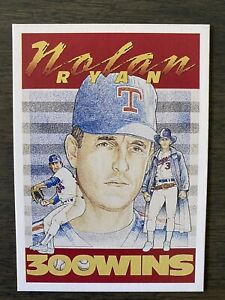 MINT RARE 1990's Nolan Ryan Promo Card 300 Wins 5000ks Baseball Texas Rangers