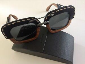 7c6115fdb61e PRADA RAW SPR 26R Wood Square Black Leather Sunglasses Brown CASE ...