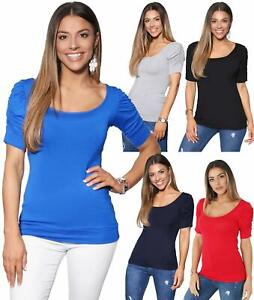 Womens-Ladies-Long-Blouse-Ruched-Pleated-Sleeve-Stretch-Jersey-Plunge-Top-Tshirt