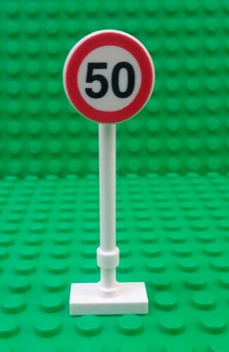 *NEW* Lego Sign 50 Speed Limit Sign 2x2 Clip Printed Traffic Post Pole x 1 piece
