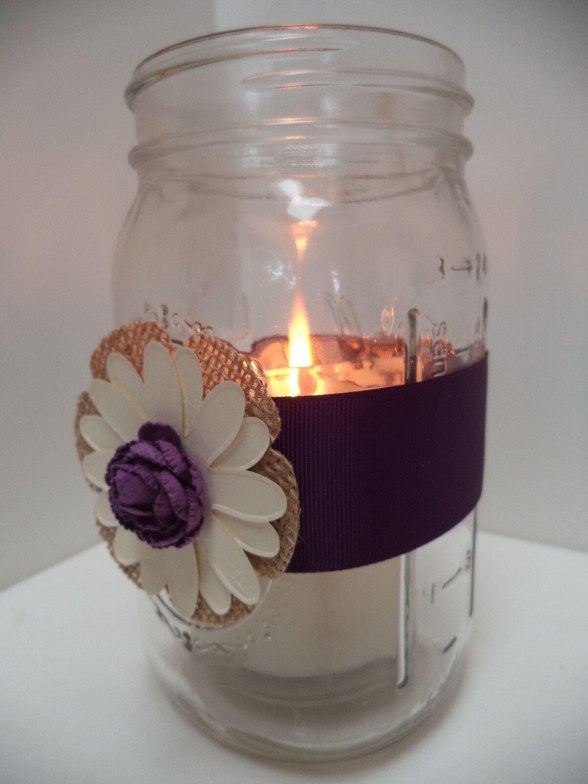 10 lila Burlap Mason Jar Rustic Centerpiece Wedding Party Decorations J8