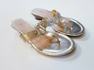 Sperry-Top-Sider-Womens-Size-9-Wedge-Gold-Thong-Slip-On-Sandals-STS93928