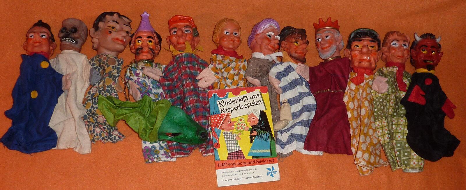 Kasperle Puppen Sammlung 13 Handpuppen Teufel Zauberer Gespenst König Dieb etc.