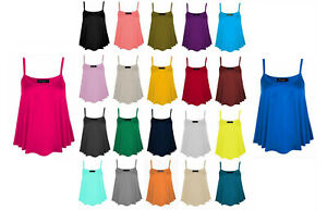 Ladies-Womens-Girls-Stretch-Cami-Vest-Top-camisole-Straps-Size-8-24