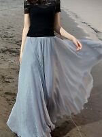 New Retro Women Chiffon Double Layer Pleated Long Maxi Dress Elastic Waist Skirt