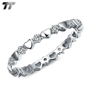 TT-2mm-Width-RHODIUM-925-Sterling-Silver-Love-Heart-Wedding-Ring-RW51-NEW