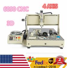 New Listingusb 4 Axis 6090 Cnc Router Metal Engraver Milling Machine 3d Cutter 2200w Vfd