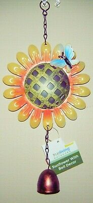 """Wind Chimes Sunflower Butterfly or Bumblebee Bell Decor Painted Metal 12/"""" New"""