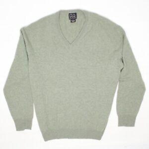 Jos-A-Bank-Mens-Cashmere-Sweater-L-Solid-Sage-Light-Green-V-Neck-Pullover-Soft