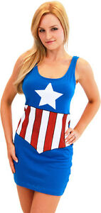 Juniors-Marvel-Comics-Avengers-Captain-America-Sexy-Superhero-Tank-Dress-Dresses