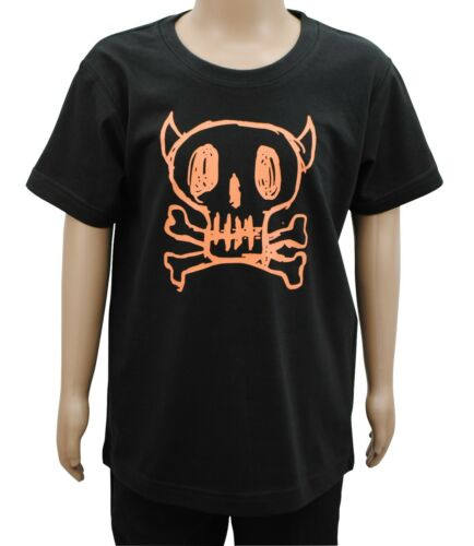 Boys Ex Zara T-Shirt Top Orange Skull Print Black Age 3 4 5 6 7 8 9 10 Years