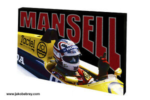 Graphic-Art-Motor-Sport-Canvas-Grand-Prix-1987-Mansell-Point-Colour-Red