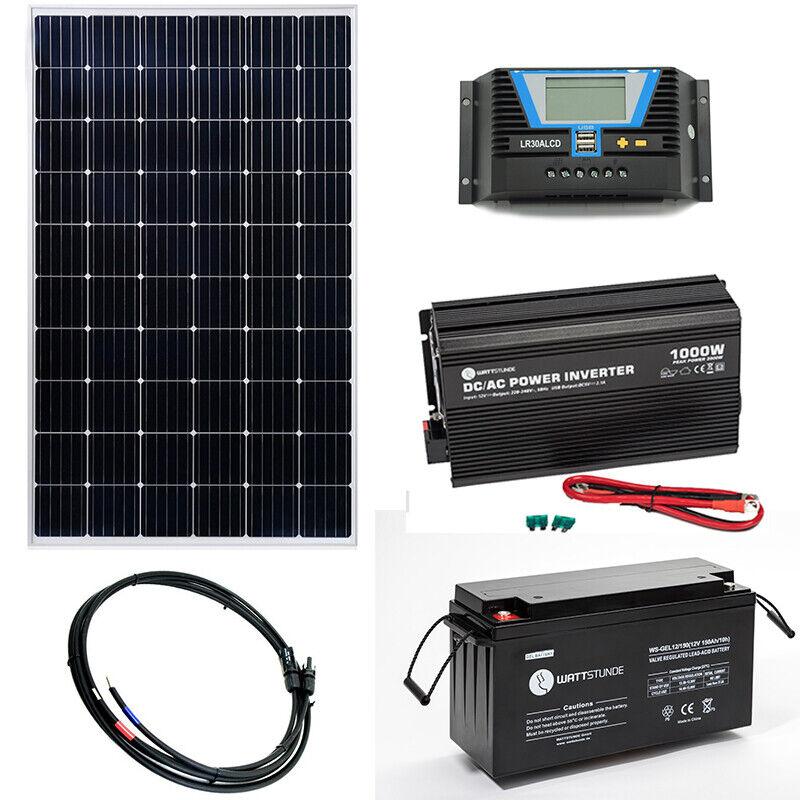 250W Solar Inselanlage Solaranlage Set 1000W AC   100Ah AGM Batterie optional