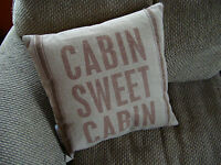 Cabin Sweet Cabin Lodge Brown Linen Canvas Full Size Throw Couch Pillow Decor