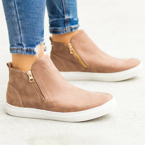 Women/'s Zip Ankle Boots Trainers Casual Sneakers Flat Booties Pumps Shoes Sizes