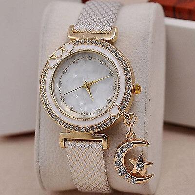 Women Lady Girl Luxury Crystal Rhinestone PU Leather Bracelet Quartz Wrist Watch