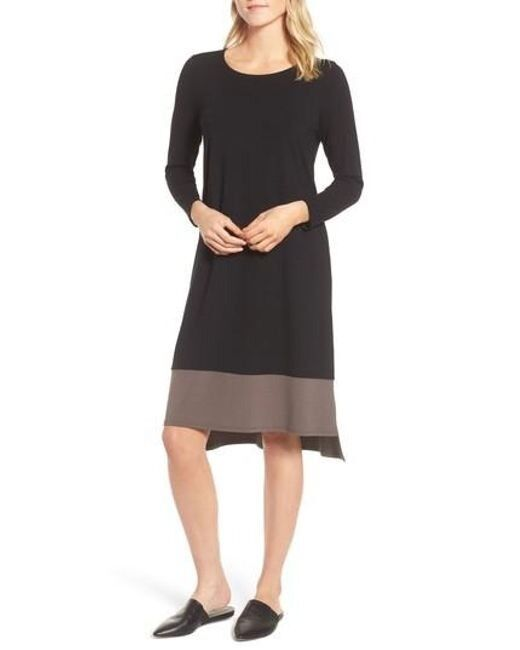 Eileen Fisher Farbeblock Viscose Jersey Knee Length Shift Dress schwarz Rye XXS