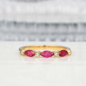 1ct-Marquise-Pink-Ruby-Wedding-Band-Half-Eternity-Stackable-18k-Yellow-Gold-Over