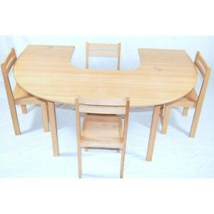 Bon Image Is Loading Kids Beech Wood Half Circle Table Stacking Chairs