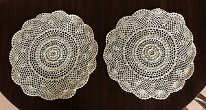 Vintage Crochet Doilies Set of Five Ecru Handmade