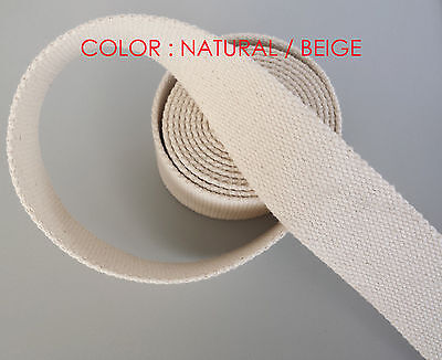 32mm Natural //Beige 100/% Cotton CANVAS webbing strap tape Upholstery @ 1 Yards