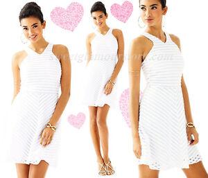 147aa5fef30402 $198 Lilly Pulitzer Megyn White Crochet Stripe Knit Lace Fit & Flare ...