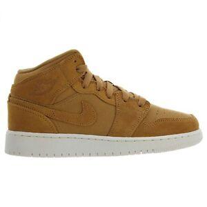 35ee4772521 Air Jordan 1 Mid Big Kids 554725-725 Golden Harvest Sail Shoes Youth ...