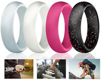 Ring Women Wedding Band Silicone Sport Look Silver Engagement Safe Gym Gift Set