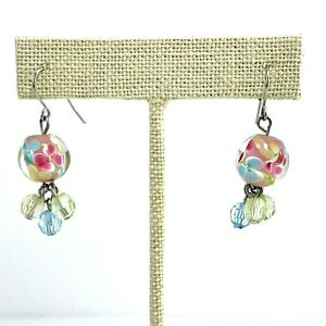 Springtime Earrings Glass Flower Screwback Earrings Pastel Beaded Earrings