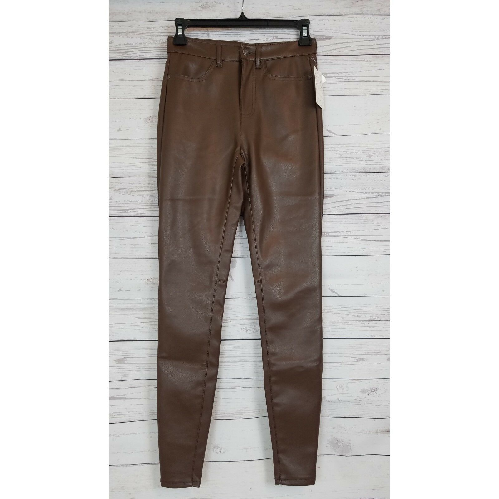 Free People Vegan Faux Leather Skinny Pants High Rise Size 26 Brown NWT