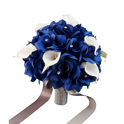 """Wedding Bouquet - 10"""" Royal Blue Roses and Calla Lily with Rhinestone Accents"""