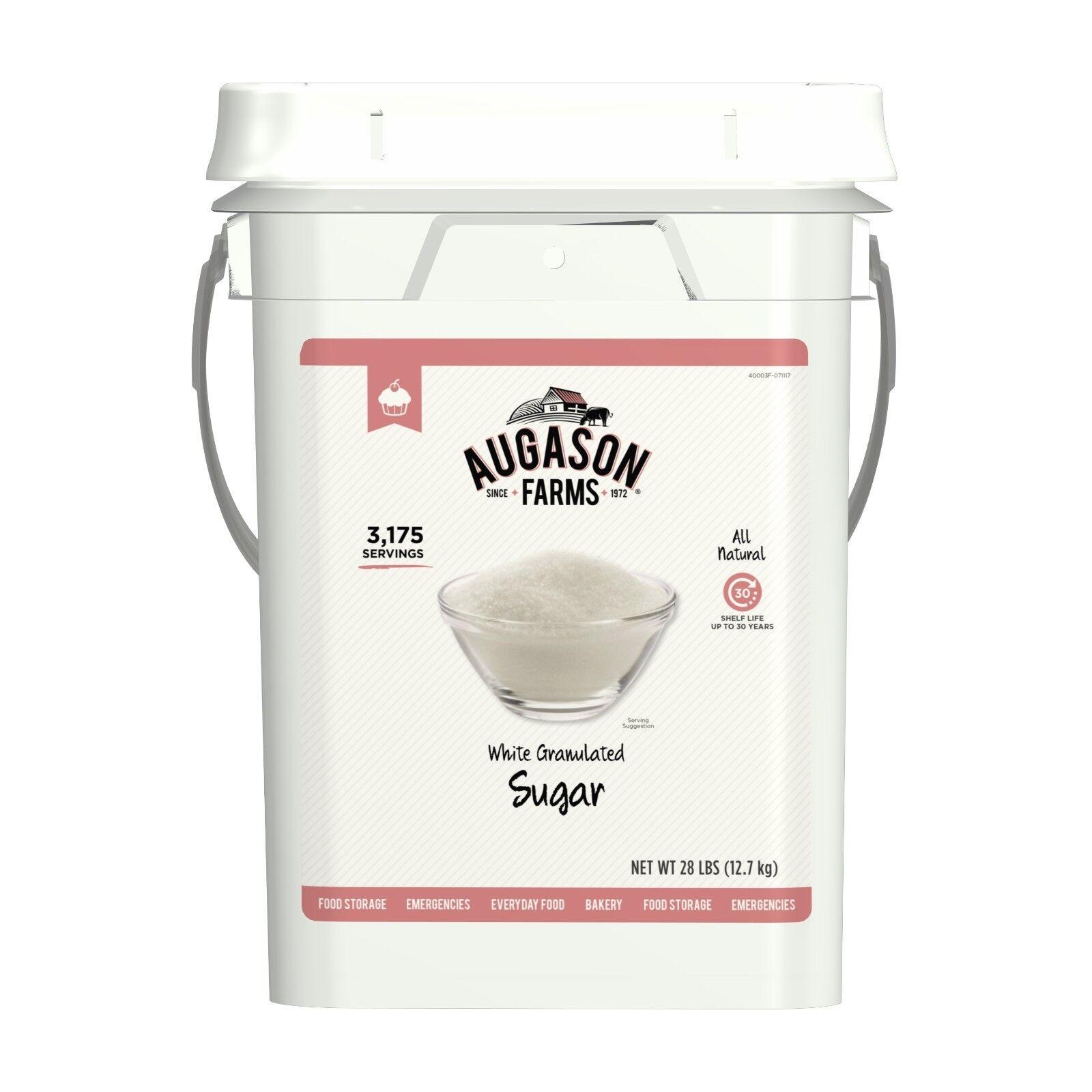 White Granulated Sugar 28lb Camping Emergency Survival Food Storage Gluten Free