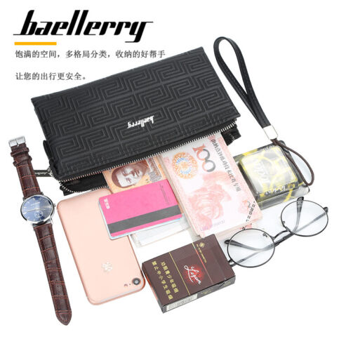 Image 11 - Large Capacity Mens Leather Wallet Long Zipper Clutch Purse Card Holder Handbag