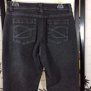 CHICOS Platinum Denim Size 0 Black Stretch Jeans Pants US Small 4 Waist 30 x 29