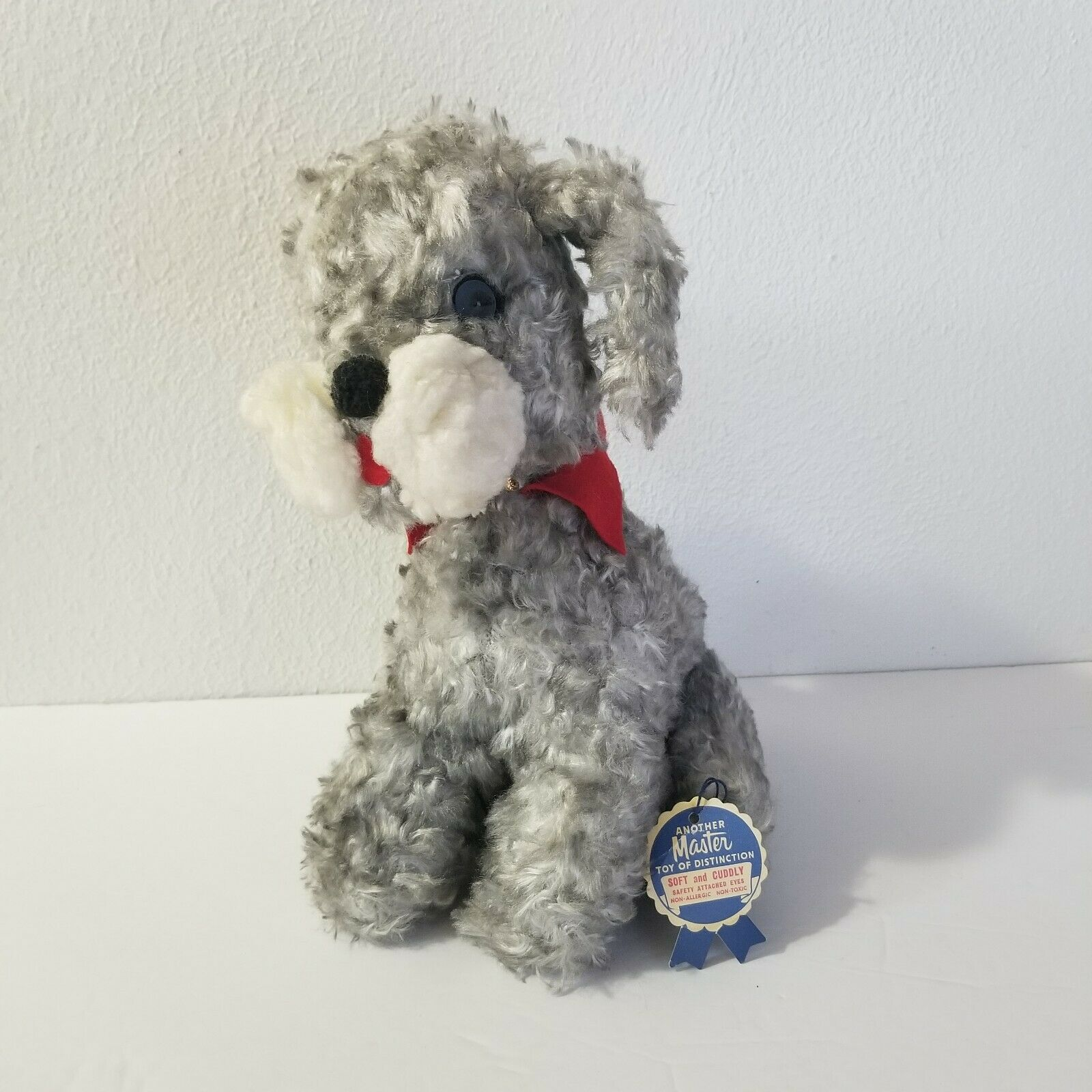 PE14 Vtg MASTER INDUSTRIES Terrier  1950s Stuffed Plush Dog Toy with TAG 11