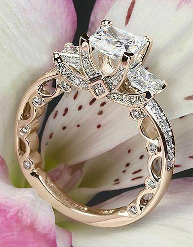2ct Princess Cut Diamond Antique Vintage Engagement Ring 14k pink gold Finish