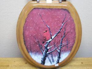 Cardinal Winter Bird Painting Toilet Seat Rustic Decor