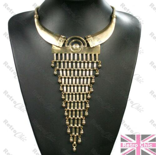 Azteca Tribal largo triángulo Cuello Flecos Collar Gargantilla Vintage gold//brass Malla
