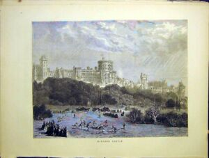 Original-Old-Antique-Print-Windsor-Castle-Sketch-Sport-View-London-1870-19th