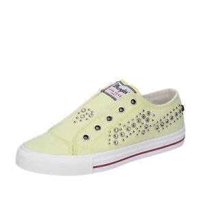 scarpe-donna-WRANGLER-35-EU-sneakers-giallo-tela-borchie-BT775-35