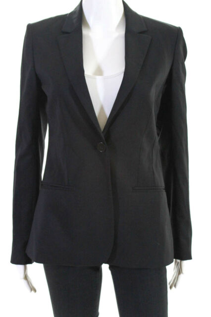 Theory Womens Long Sleeve V Neck Solid Print Blazer Jacket Black Wool Size 4