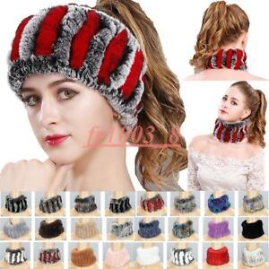 Real Rex Rabbit Fur Headbands Girls Ring Cowl Scarves Winter Neck Warmer Elastic