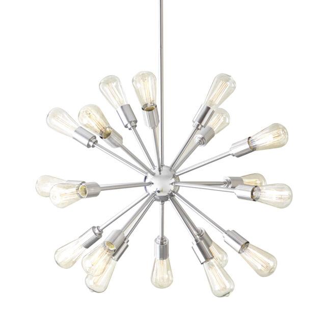 Grayford Starburst 35 In 18 Light Brushed Nickel Edison Bulbs Chandelier New