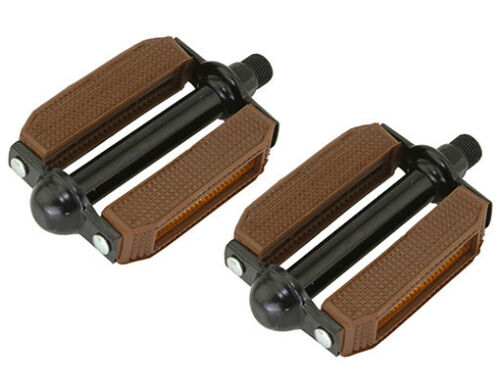 "NEW!Original Brown//Black Bicycle Block Pedals 9//16/"" BMX Beach Cruiser Bike Pedal"